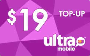 Ultra Mobile  Prepaid $19 Refill Top-Up Prepaid Card ,PIN / RECHARGE
