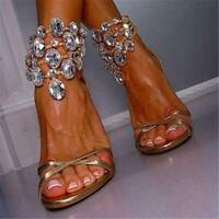 Summer Women Crystal Ankle Strap Stiletto High Heels Sandal Open Toe Pumps Shoes