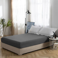 4PCS Deep Pocket Fitted Sheet Bed Sheet Cover Elastic Sheet Polyester Queen Gray