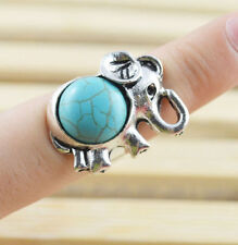 New Tibetan Silver Blue Baby Elephant Trunk Up Finger Ring Size Adjustable