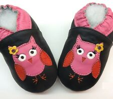 minishoezoo chaussons bebe owl black  6-12 m first newborn girl gift slippers