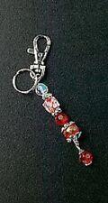 Key Chain Handbag Charm Red Glass Bead Crystal Silver Plated Ring Christmas Gift