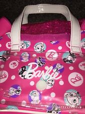 Barbie Pink Vinyl Hand Bag Purse Carrier With Pets Animals Dogs Print