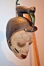"Unique Bird Crested Ibo / Igbo Ceremonial African Mask - Nigeria - 17"" x 9"""