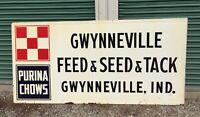 LARGE VINTAGE Embossed PURINA Feed Seed & Tack Sign ~ FARM GAS OIL