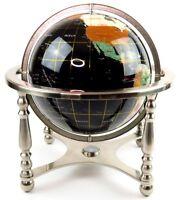 """Black 12"""" Diameter Semi-Precious Gem Stone World Globe Chrome Stand & Compass"""
