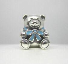 Authentic Pandora 925 Sterling Silver Charm Son Blue Teddy Bear 791124EN41