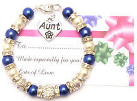 Personalised Aunt Charm Bracelet Free Card & Gift Bag 12 COLOURS MANY CHARMS