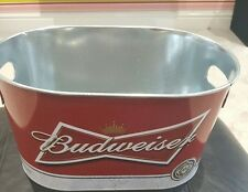 BUDWEISER Metal Oval Bucket GRAB SOME BUDS PUB/BAR/MANCAVE/BBQ/PARTY