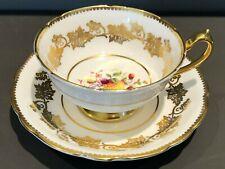 Vintage Paragon Bone China Fruit Center Tea Cup & Saucer Heavy Gold Gilt