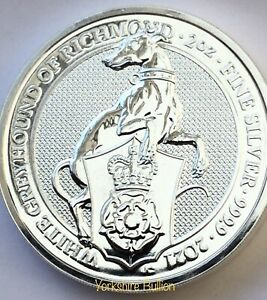 2oz Silver 2021 Queens Beast White Greyhound Of Richmond - With Capsule