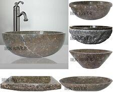 Marble Stone Sink Bathroom Countertop Vessel Inset Basin Wash Bowl Fossil Grey
