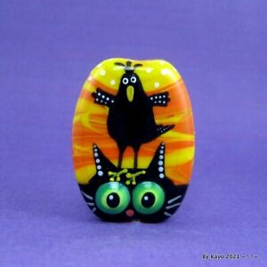 """MYSTERY & MAGIC"" a handmade lampwork glass CROW &CAT pendant focal bead byKayo"