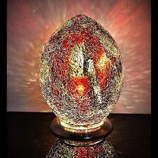 Fabuloso Med Mosaico De Vidrio Craquelado Naranja Rojo Oro Huevo Lámpara De Mesa, Mesita De Noche lm74o