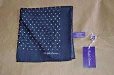 $135 NWT PURPLE LABEL Ralph Lauren Navy White spots CASHMERE Silk pocket square