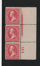 1894 U.S. Scott 252 2c Washington Plate #154 vertical strip w/imprint Nh Cv$1300