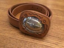 Fred Cohen Brown Leather Belt W/ Silver Thunderbird Concho Tooled LeatherBuckle