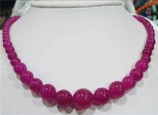 "6-14mm Rose Alexandrite Gemstone Round Beads Necklace 18"""