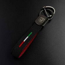 Porte-Clés en Alcantara/Cuir Logo Abarth Fiat 500 Drapeau Italien 595/595C