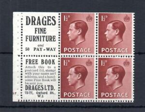 EDWARD VIII 11/2d + LABELS CYLINDER G7 PANE PERF E MOUNTED MINT Cat £120