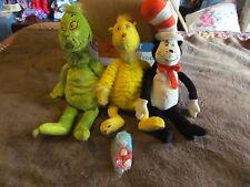 3 Fabulous Larger Plush Dr. Seuss Character Toys & 1 Small - Grinch, Cat +