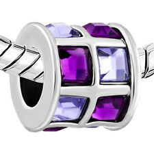 Pugster European charm bead- silver with light & dark purple crystals tiles drum