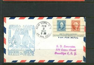 USA; FLIGHT LETTER/COVER 1950 fine used Airmail cover to New York