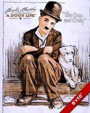 CHARLIE CHAPLIN MOVIE POSTER DOGS LIFE PAINTING ANIMAL PET ART REAL CANVAS PRINT
