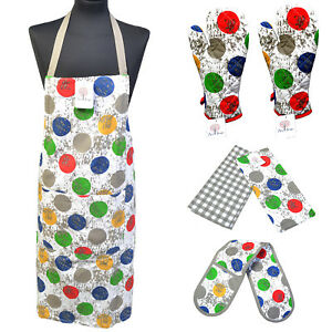 100% Cotton BBQ Cooking Apron Oven Mitt Gloves Tea Towels PolkaDot Xmas Gift Set