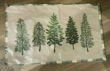 Pottery Barn Forest Embroidered Trees lumbar Christmas pillow cover 16x26