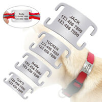 "Personalized Dog Slide On Tags No Noise Name Tags for 1/4""-1.0"" Collars Silencer"