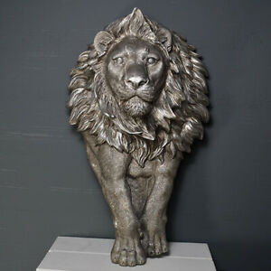 Lion Antique Silver Finish Wall Plaque Sculpture  / Figurine.New.