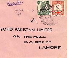 AX126 1949 India Local PAKISTAN Overprint *Bahawalpur* Bookpost Cover Lahore TEA