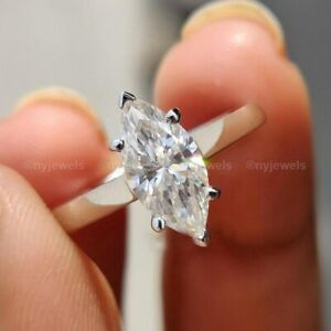 2 CT Marquise Cut Diamond Solitaire Engagement Ring Solid 14k White Gold VVS1