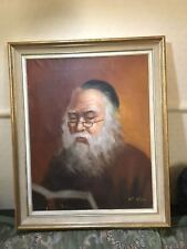 Old Oil Painting on Canvas Portrait of a Jew Rabbi Reading a Book Good Condition