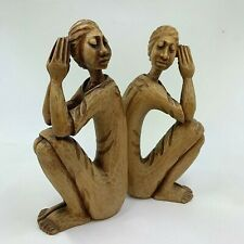 "PAIR OF WOODEN CARVED SCULPTURE SEATED AFRICAN AMERICAN WOMAN SIGNED ""LOUIS"""