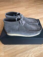 CLARKS ORIGINALS WALLABEE BOOT GREY SUEDE CREPE SOLE SHOES MENS UK 10.5