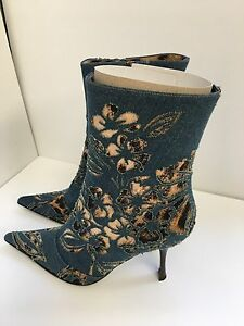 Roberto  Cavalli High Heel Boots Denim Blue Animal Print Cut Outs UK7,5 EU39,5