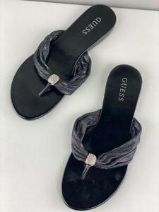 Guess Womens Black Slides Slippers Slip On Flat Comfort Open Toe Size 8