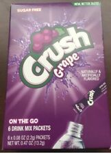 Crush Grape Singles On The Go Drink Mix One Box With 6 Packets Sugar Free New