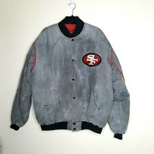 XL San Francisco 49ers Starter Snap Bomber Jacket Gray Marble Fade Distressed