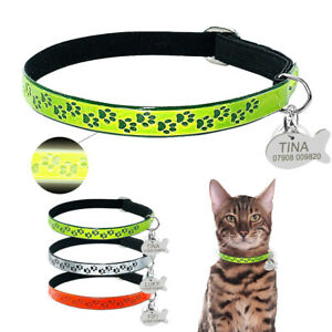 Reflective Pet Cat Personalised Collar ID Name Tag Engraved Small Puppy Kitten