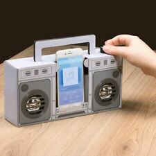 Retro Touch Boombox Portable Speaker - Boxed Small Device Amplifier 80s