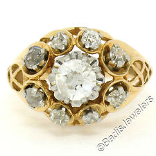 Antique Victorian 18k Gold 1.25ctw Old European Mine Cut Diamond Engagement Ring