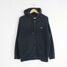 Mens Obey Heavy Cotton Logo Full Zip Hoodie Hooded Jumper Sweater M Navy 5314