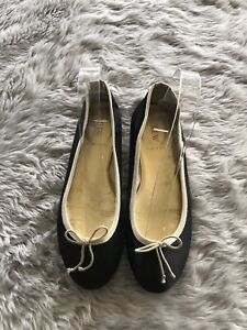 J. Crew Made in Italy Black and Tan Round Toe Evie Ballet Flats Women's 6.5