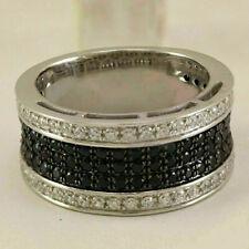 Men's 2 CT Round Black White Diamond Wedding Band Pinky Ring 14k White Gold Over