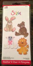 Sizzix Sizzlits STUFFED ANIMAL SET 4 Dies, Bunny Bear Lamb Lion, Card Making NEW