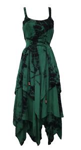 Tie Dye Maxi Corset Dress Summer Pixie Hem Green Black 10 12 14 16 18 20 22 24