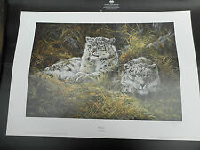 DOROTHEA HYDE LARGE LIMITED EDITION PRINT SNOW LEOPARD WATCHFUL VGC LOW POST